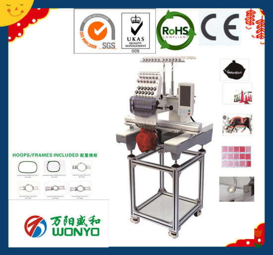 Wy1201CS/Wy1501CS Single Head Cap, Shoes, T-Shirt Embroidery Machine Industrial Sewing Machine with Topwisdom 7/8/10 LCD Touch Screen