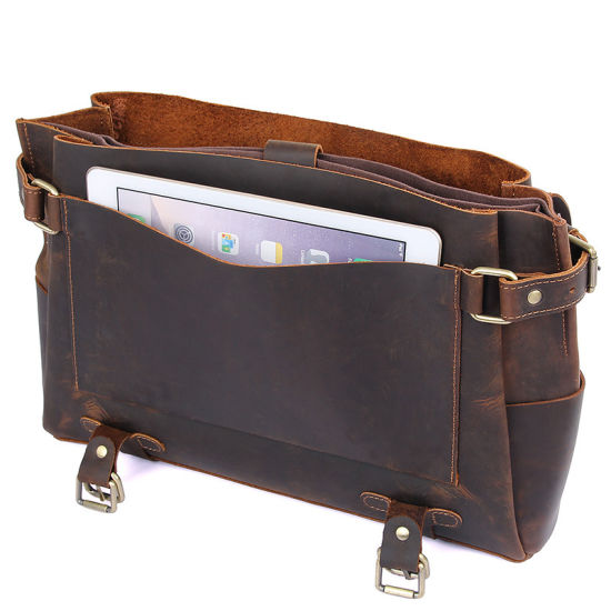 "New Arrival Good Price 14"" Laptop Bag Brown Crazy Horse Leather Messenger for Men pictures & photos"