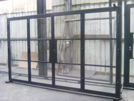 China Wrougth Iron Sliding French Bifold Doors With Tempered Glass