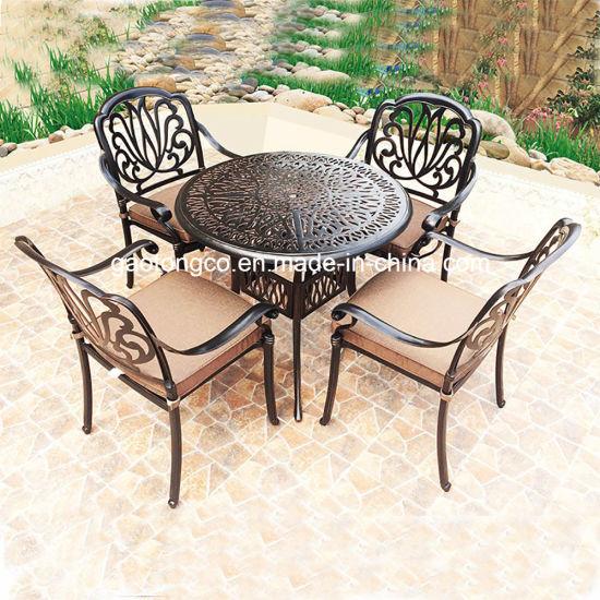 Elegant White Outdoor Cast Aluminium Tulip Floral Bistro Coffee Table Chairs Set