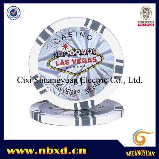 14g 2 tone 5 spot clay poker chip with custom stickers sy e10
