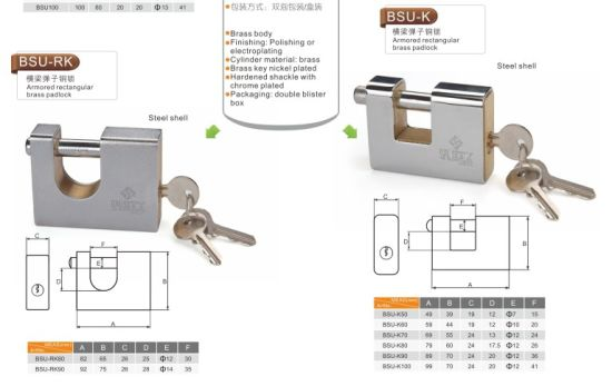 Brass or Iron Rectangular Padlocks with Brass Keys pictures & photos