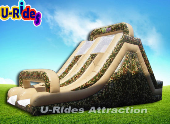 Commercial camouflage paint inflatable obstacle inflatable obstacle course with slide for event pictures & photos