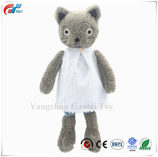 Dressed Stuffed Animals Cat Plush Toys Gifts Grey 13 Inches