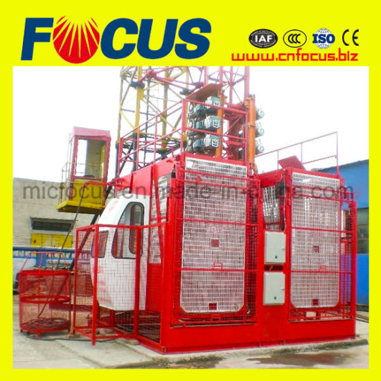 Single/Double Cage 1000kg/2000kg Construction Lift/Construction Hoist/Construction Elevator for Passenger/Material Hoist pictures & photos
