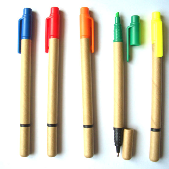 Promotional Eco Friendly Paper Ballpen with Highlighter Pen