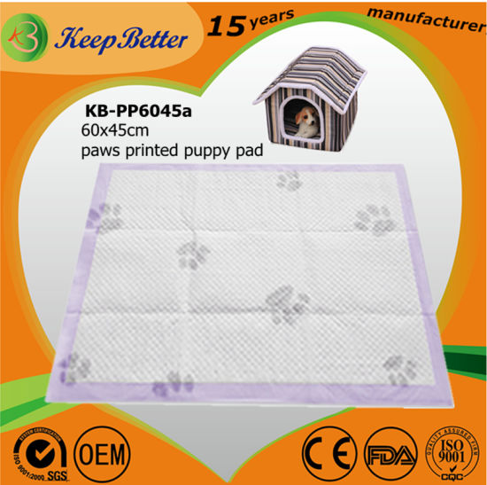 Pets/Dogs/Puppy/Cats Urine/PEE/Potty/Toilet/Sanitary Training Pads with Paws Printed Anti-Slip Stickers/Adhesive Tapes for Floor Clean Protection pictures & photos