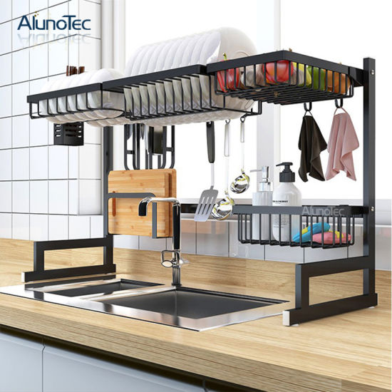 [Hot Item] 85cm Kitchen Storage Rack Dish Drying Shelf Holder Standing Type  Stand Wall Mounted Metal Dish Rack
