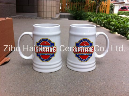 White Ceramic 680ml Beer Mug with Decal Promotion Mug