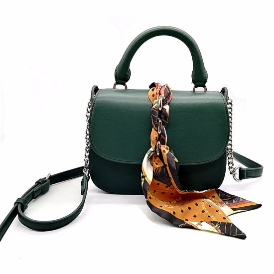 Trend High Quality Leather Lady Shoulder Tote Evening Handbags with Silk Scarves pictures & photos