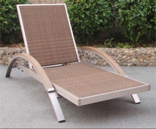 Garden Brushed Aluminum Lounge Chair Patio Beach Rattan Sofa Furniture