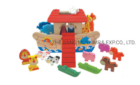Intellectual Educational Wooden Toys for Kids Gift, 22786 Lindatoy Portable Noah's Ark Playset