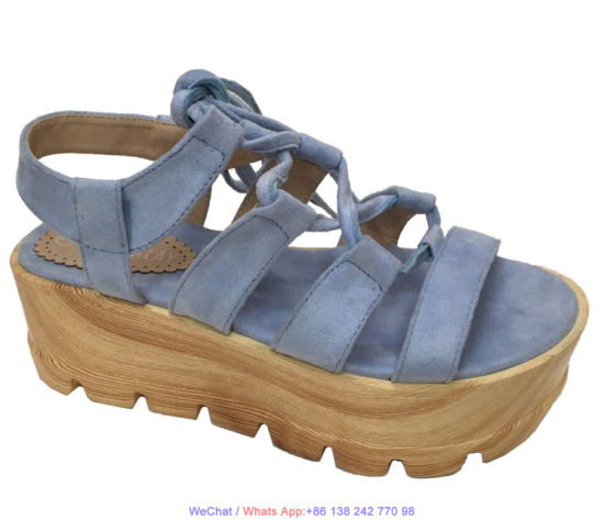 Women's Platform Comfy Leather High Heel Flatform Wedge Sandal Shoes