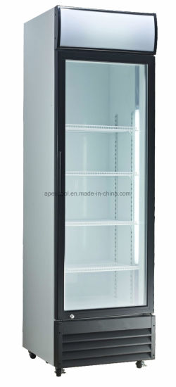 China Commercial Used Beverage Cooler Glass Door For Shop 380l