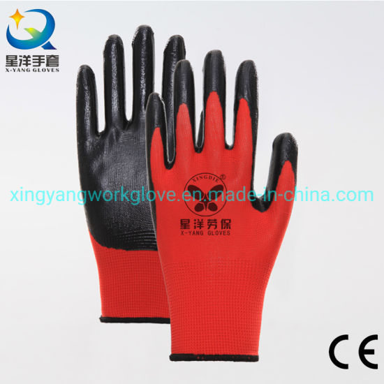 13G Red Polyester Liner with Black Nitrile Safety Work Gloves with Ce Certificated