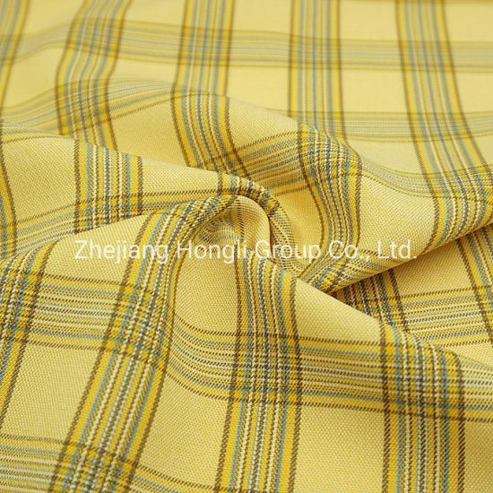 94%Polyester 6%Spandex Cationic Check Plaid Poly Span Fabric #20006