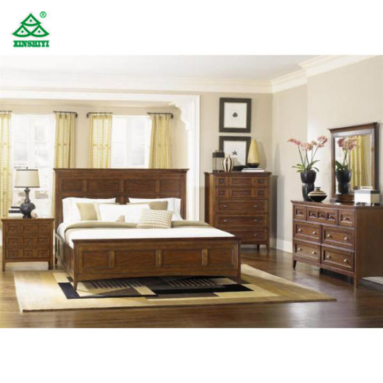 China Brown English Style Hotel Bedroom Furniture Sets Beautiful ...