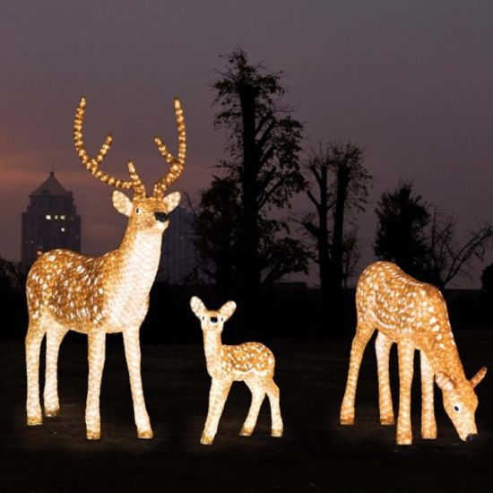 White Brown Led Reindeer Motif Light For Christmas Decoration