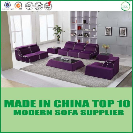 Arabic Style Living Room Set Purple Fabric Floor Sofa