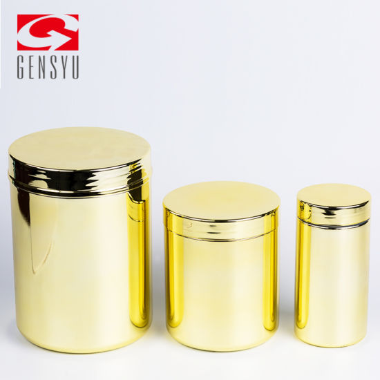 16oz Gold Chromed HDPE Plastic Canister for Nutrition Powder pictures & photos