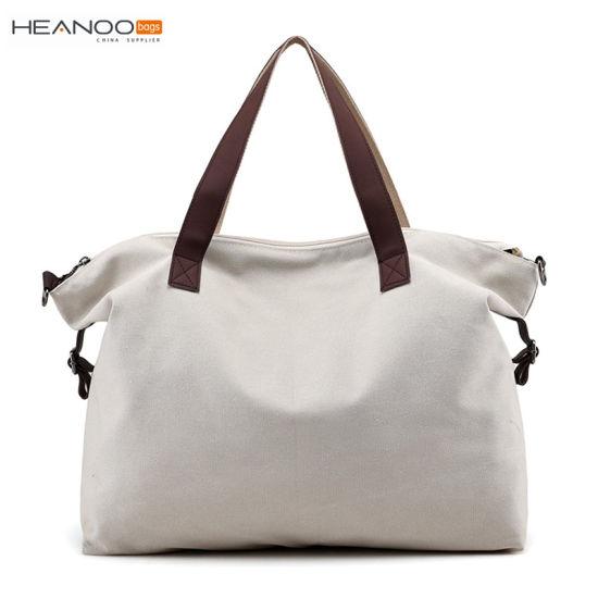 Women Shoulder Handbag Canvas Beach Bag With Zippered Closure And Strap