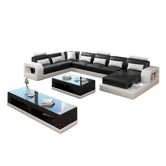 Miraculous Germany Big Size U Shape Led Function Black With White Sofa Pdpeps Interior Chair Design Pdpepsorg