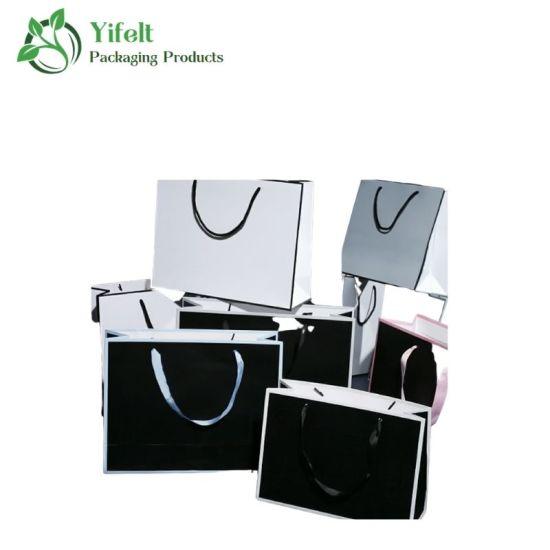 Custom Luxury Portable Ribbon Handle Gift Shopping Paper Bag with Logo