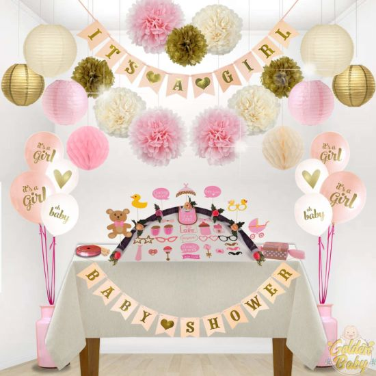 Umiss Paper Bunting Garlands for Girl Baby Shower Decorations Party Suppliers