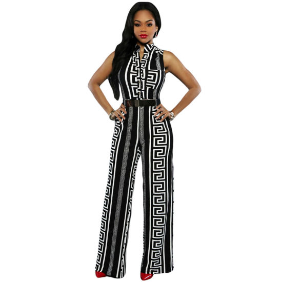 Fashion Women Black Print Gold Belted Jumpsuit pictures & photos