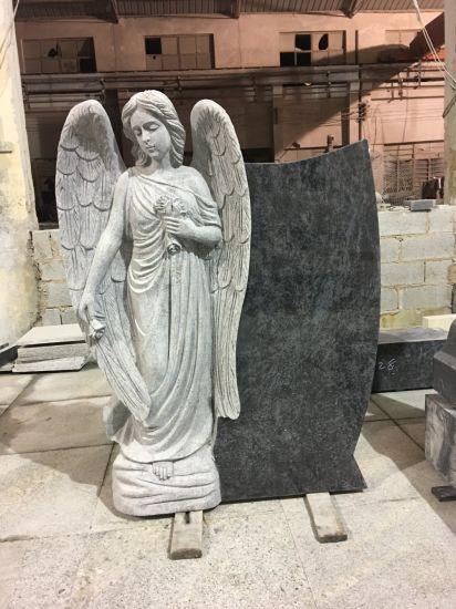 Single Angel Granite Headstone