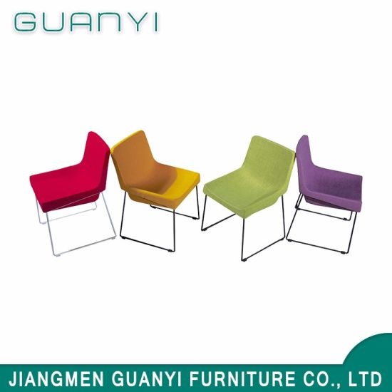 China Modern Colorful Fabric Metal Steel Leg Dining Room Chair