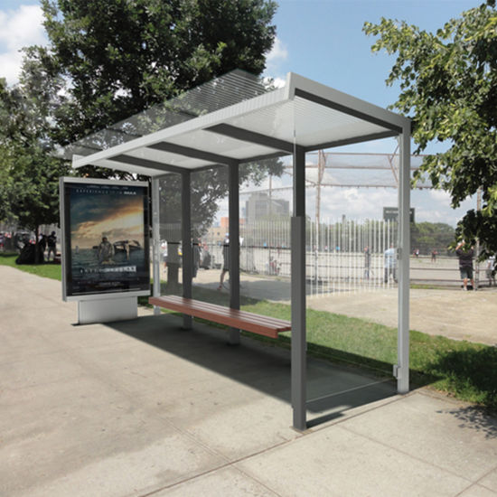 Steel Bus Shelters : China stainless steel outdoor advertising bus stop shelter