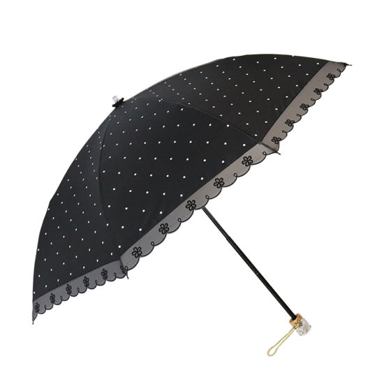 Custom Anti-UV 3 Fold Sun Umbrella with Black Coating and Embroidery for Women (YZ-19-14)
