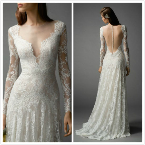 Simple Lace Bridal Gown A-Line Backless Beach Wedding Dress Lb1804