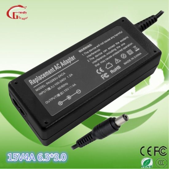 Toshiba 15V 4A 6.3*3.0 Tip Laptop Accessory Transformer AC DC Power Adapter pictures & photos
