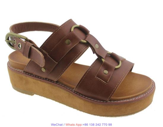 Women Comfy Platform Leather Chunky Heel Wedge Flatform Sandal Shoes