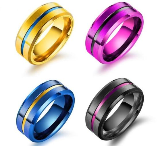 China Fashion Classic Titanium Steel Groove Ring For Men 8mm Width
