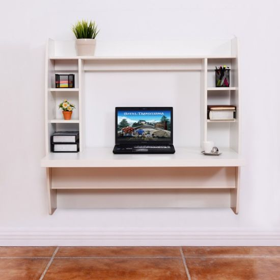 White Wall Mounted Floating Computer Desk For Living Room