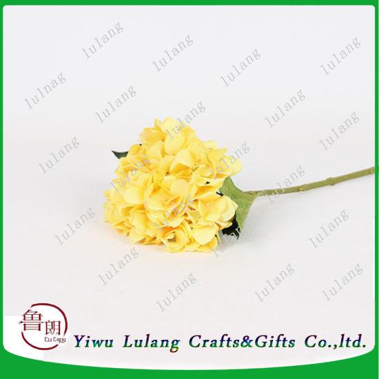 China single plastic fake flower of stem hydrangea in yellow single plastic fake flower of stem hydrangea in yellow artificial flowers mightylinksfo