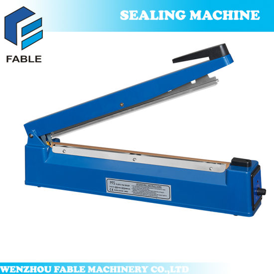 Impulse Hand Sealer for Plastic Film and Kraft Paper with Heat Strip and Knife Cutter (PFS-Series) pictures & photos