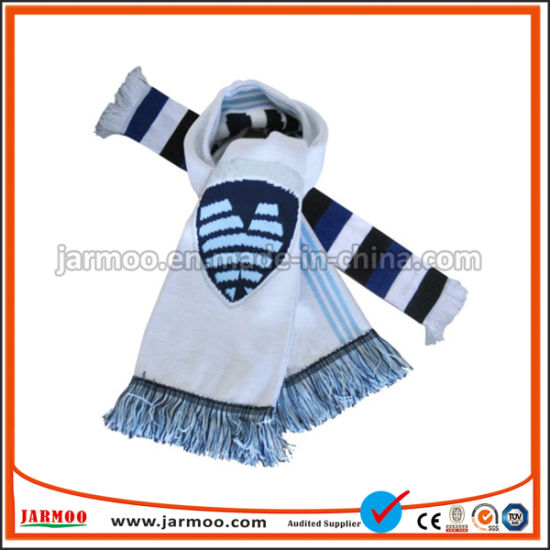 High Quality Custom Acrylic Football Soccer Fans Scarf Wholesale Winter Knitted Long Scarves