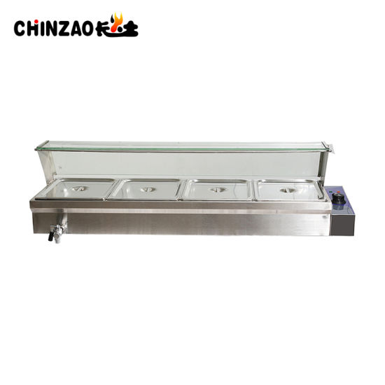 Electric Hot Food Warmer Showcase Bain Marie With Glass Cover