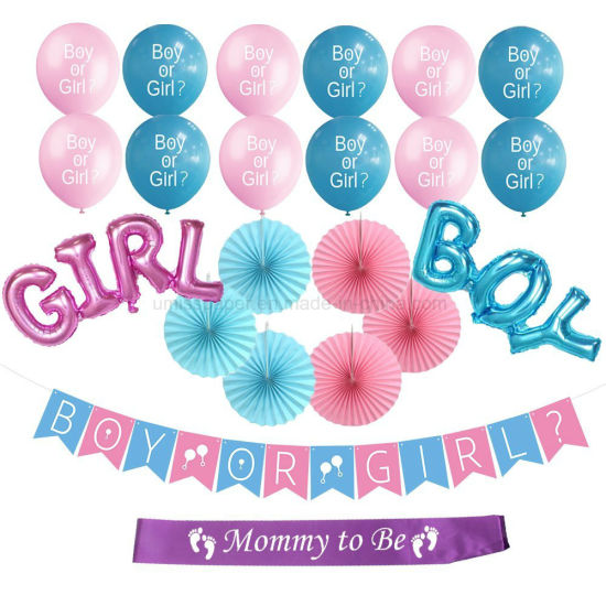 China Umiss Paper Fans Boy Or Girl Banner Baby Shower Decoration