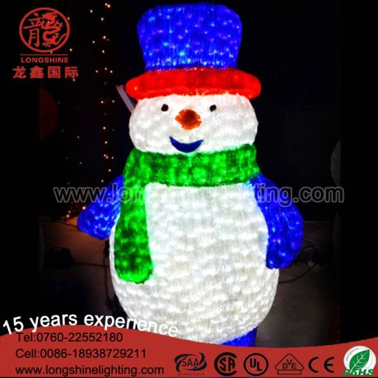LED 3D IP 67 Acrylic Crystal Snowman Motify Light for Outdoor Christmas Decoration