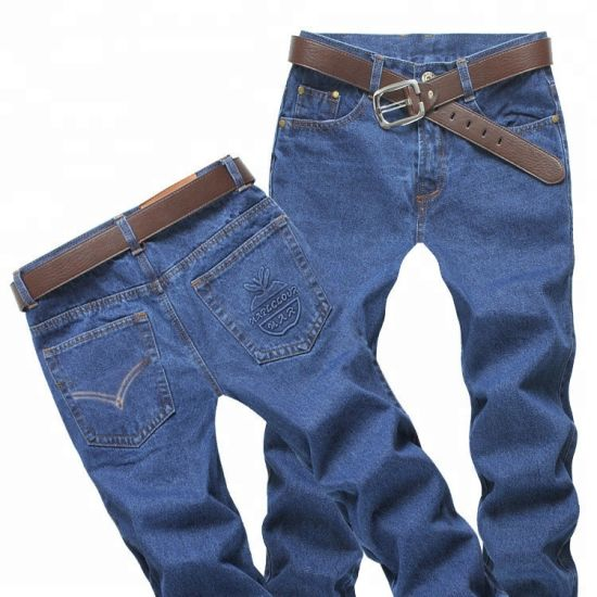 1. Support Customized Male Casual Trousers Retro Blue Work Wear Formal Regular Straight Men Jeans pictures & photos