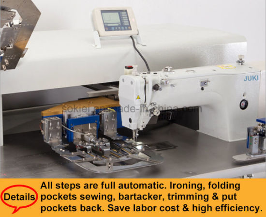 China Fully Automatic CNC No Ironing Jeans Shirts Patch Pocket Magnificent Automatic Sewing Machine For Shirts