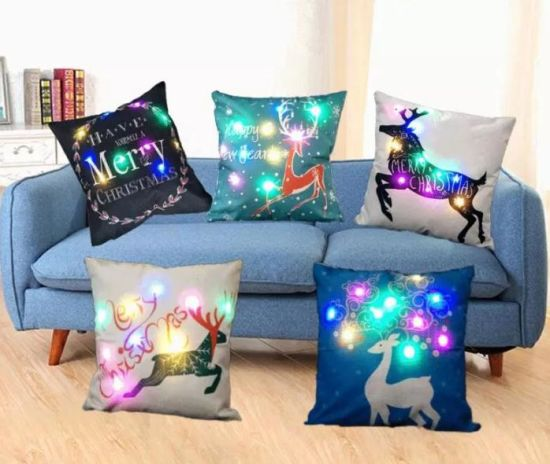 Decorative Pillow Merry Christmas Pillow Case, Multi-Colors LED Pillow Cover Case for Party Festival Wedding Decoration pictures & photos
