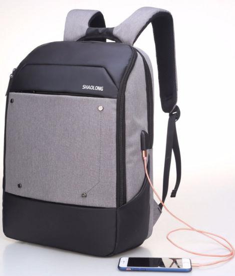 Fashion Grey Knapsack Business Backpack Men's USB Laptop Bag