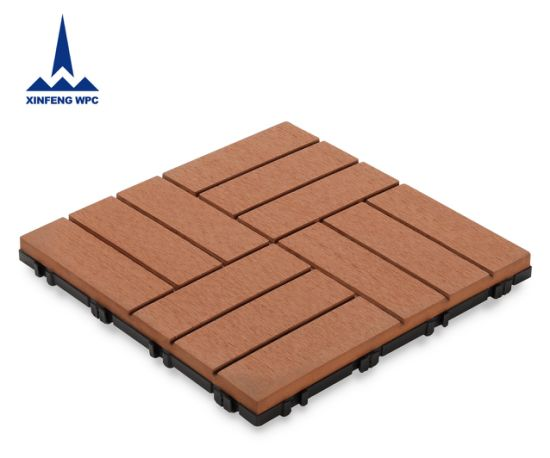 Xf Anti-UV WPC DIY Decking Tile Wood-Plastic Composite Flooring