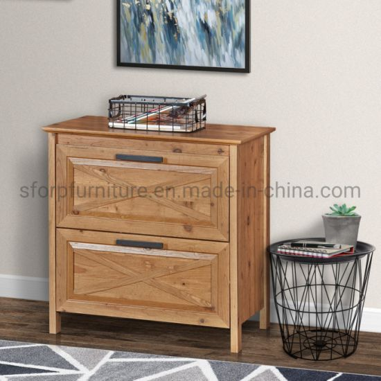 Home Office Furniture Wooden Rustic Brown Color 2 Drawer Lateral Filing Cabinet